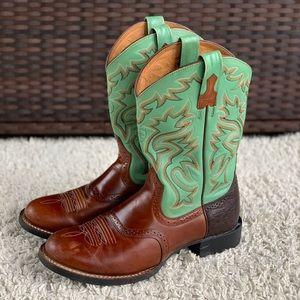 """Ariat Men's Cobalt XR Pro 11"""" Green Brown Leather Pull On Western Round Toe Boot"""